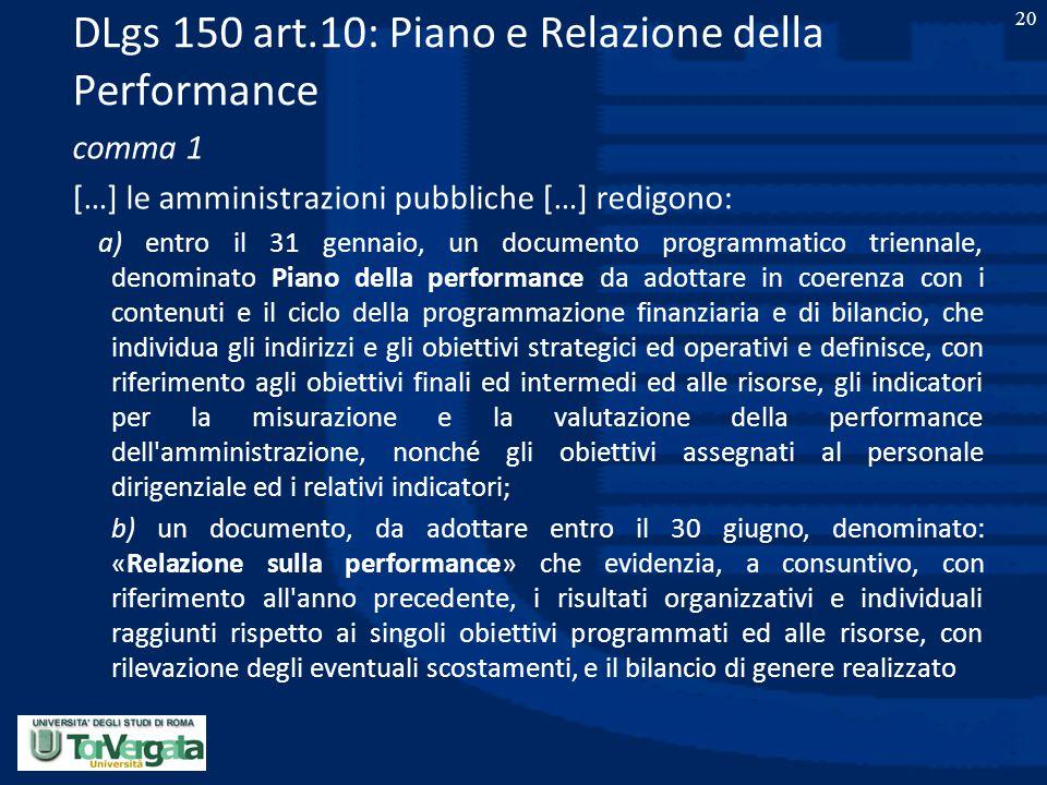 DLgs 150 art.10: Piano e Relazione della Performance