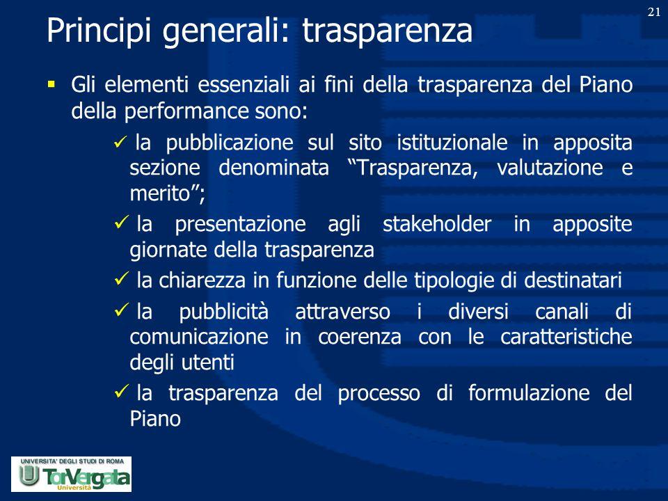Principi generali: trasparenza