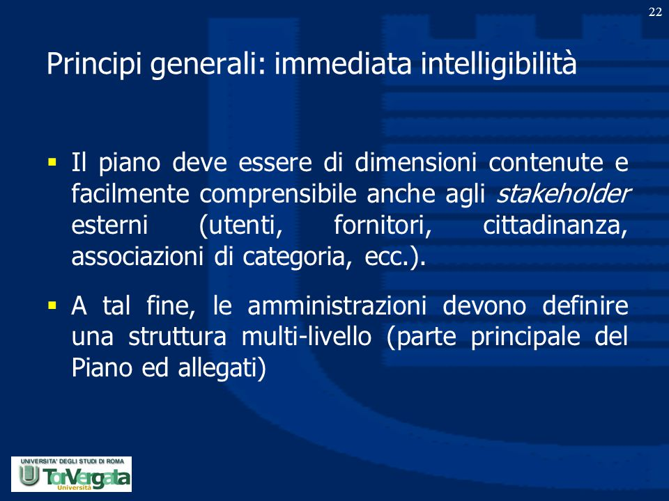 Principi generali: immediata intelligibilità