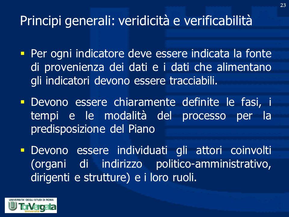 Principi generali: veridicità e verificabilità