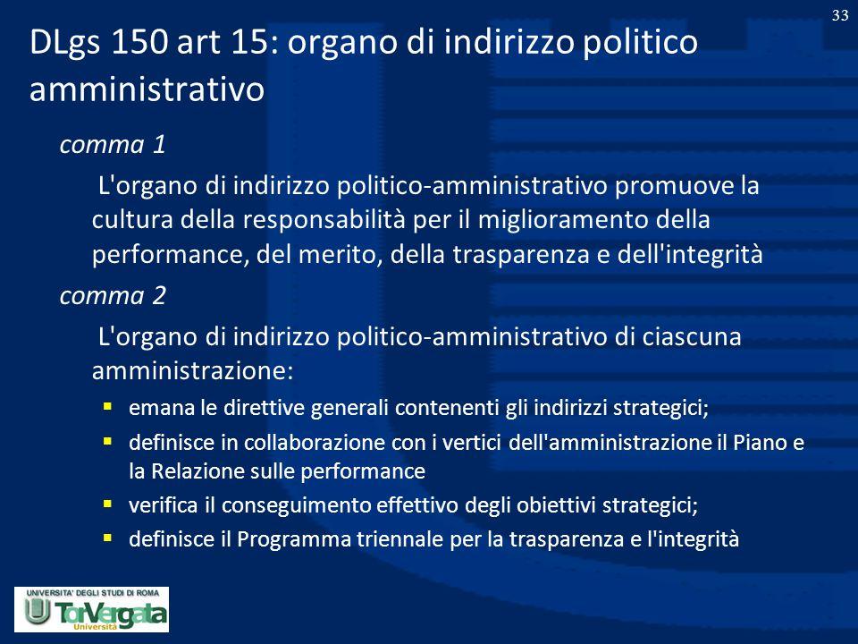 DLgs 150 art 15: organo di indirizzo politico amministrativo