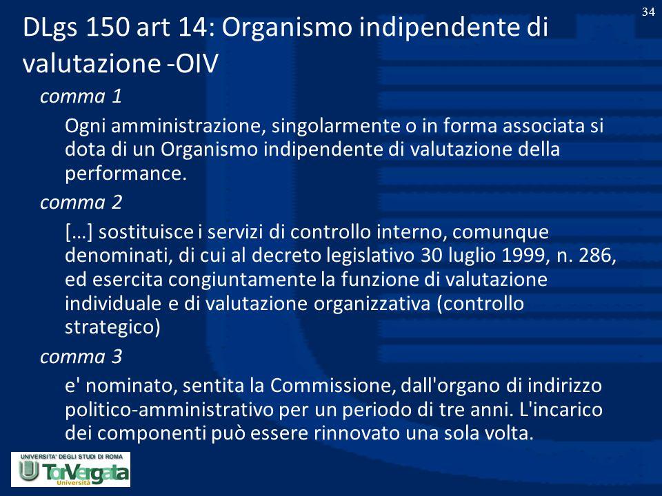 DLgs 150 art 14: Organismo indipendente di valutazione -OIV