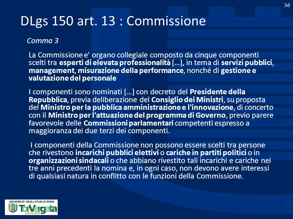 DLgs 150 art. 13 : Commissione Comma 3.