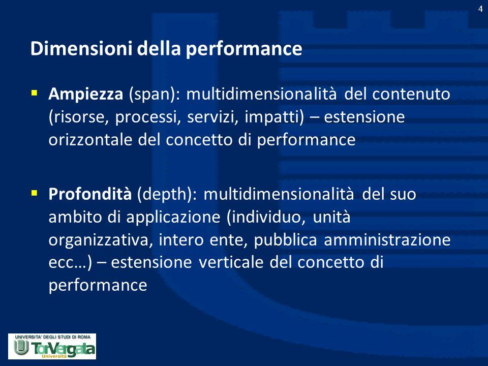 Dimensioni della performance
