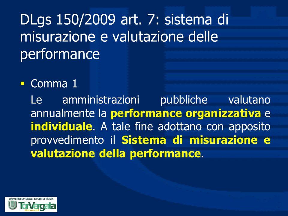 DLgs 150/2009 art. 7: sistema di misurazione e valutazione delle performance