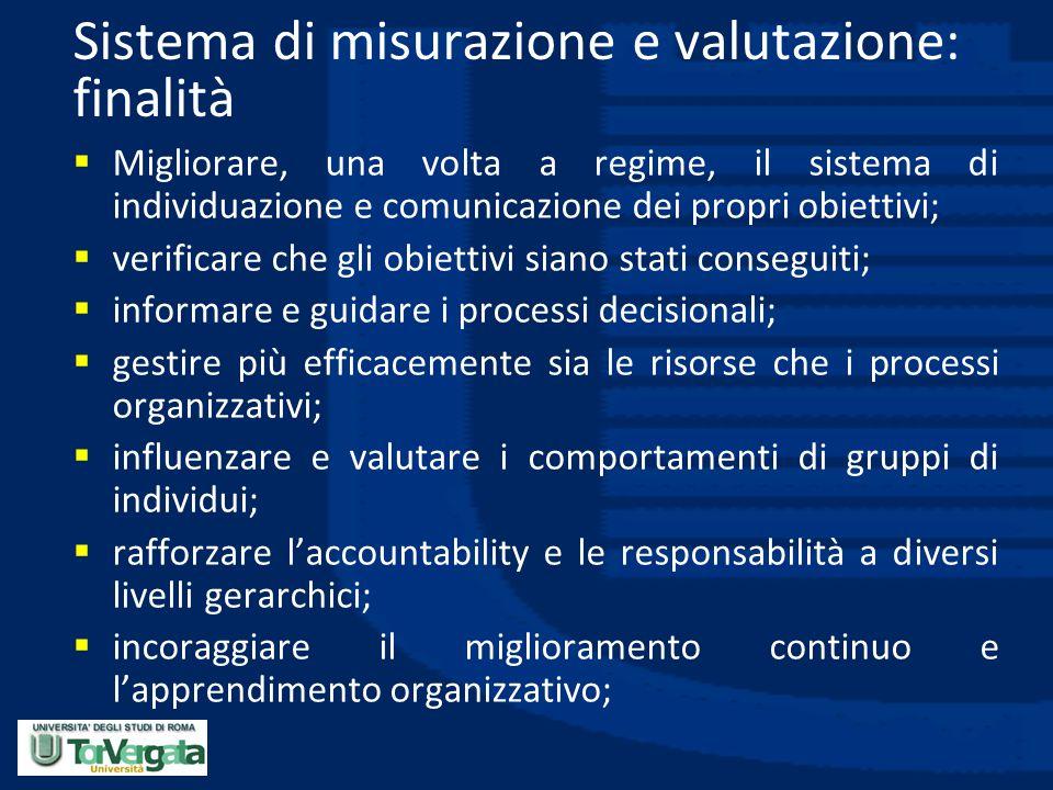 Sistema di misurazione e valutazione: finalità
