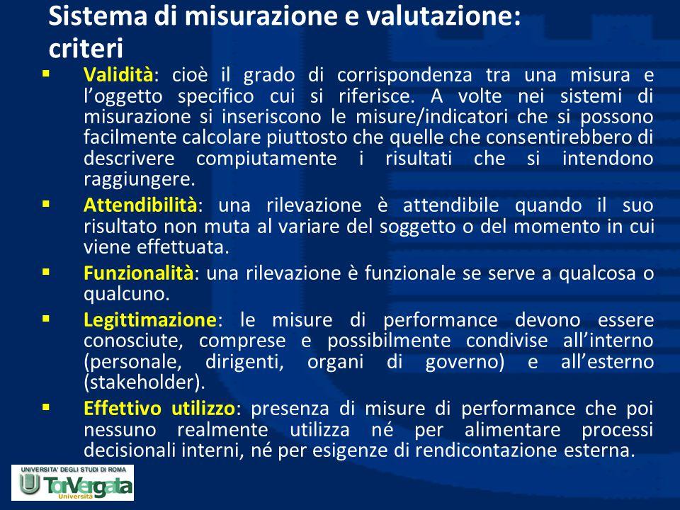Sistema di misurazione e valutazione: criteri