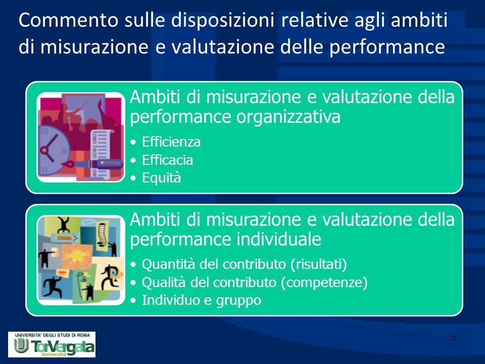 Commento sulle disposizioni relative agli ambiti di misurazione e valutazione delle performance