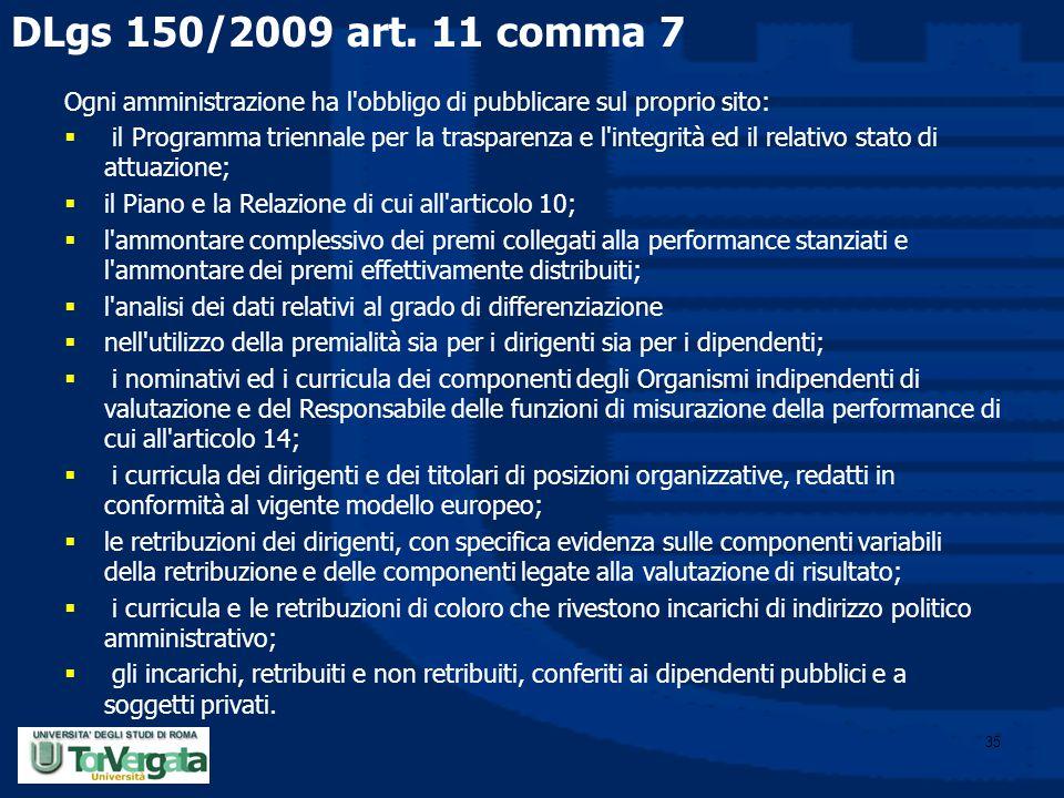 DLgs 150/2009 art. 11 comma 7 Ogni amministrazione ha l obbligo di pubblicare sul proprio sito: