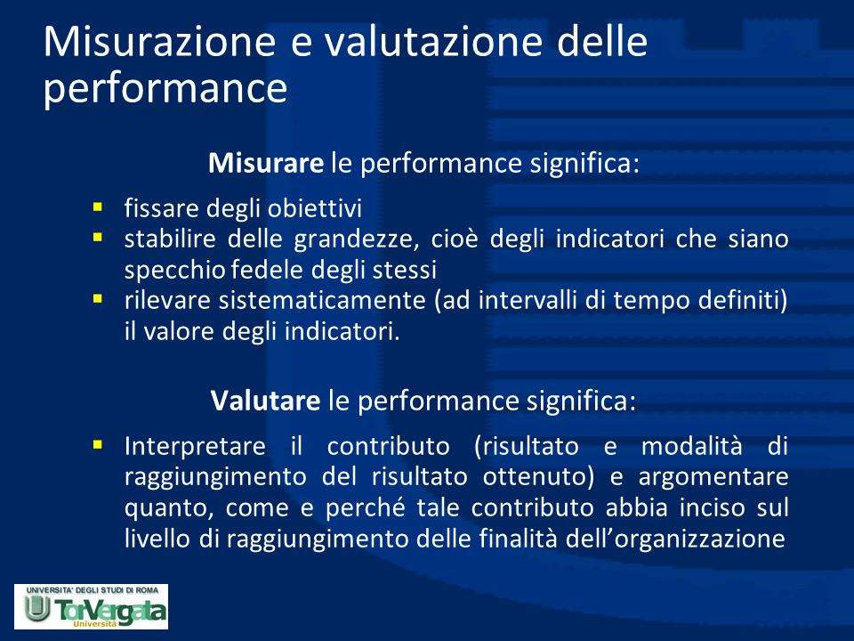 Misurazione e valutazione delle performance