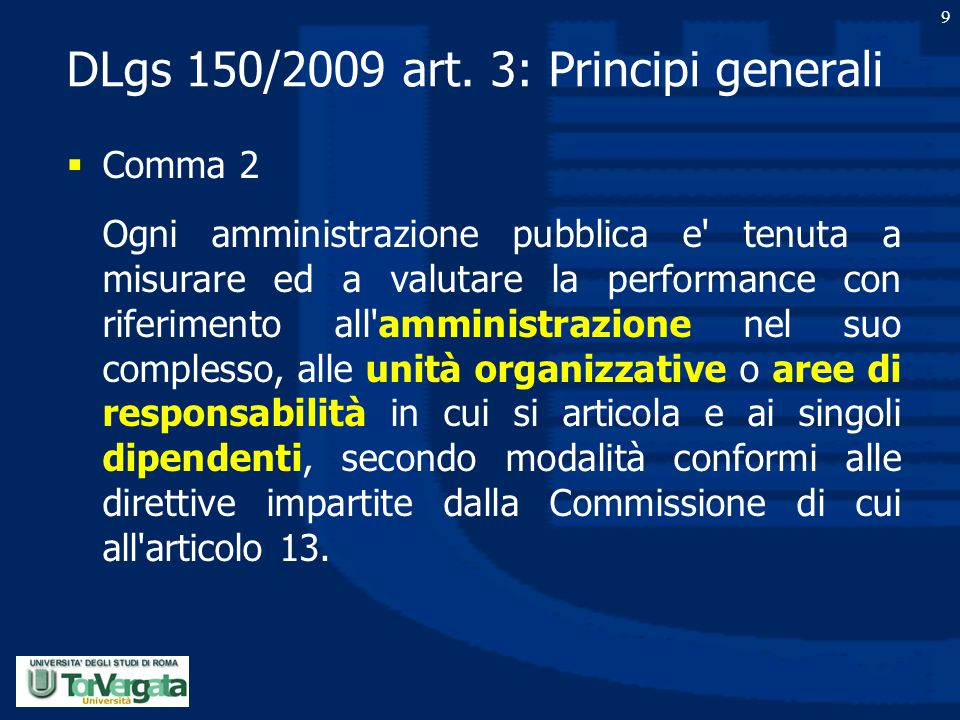 DLgs 150/2009 art. 3: Principi generali