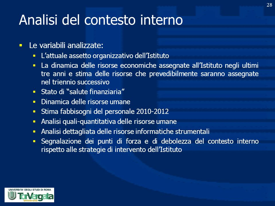 Analisi del contesto interno