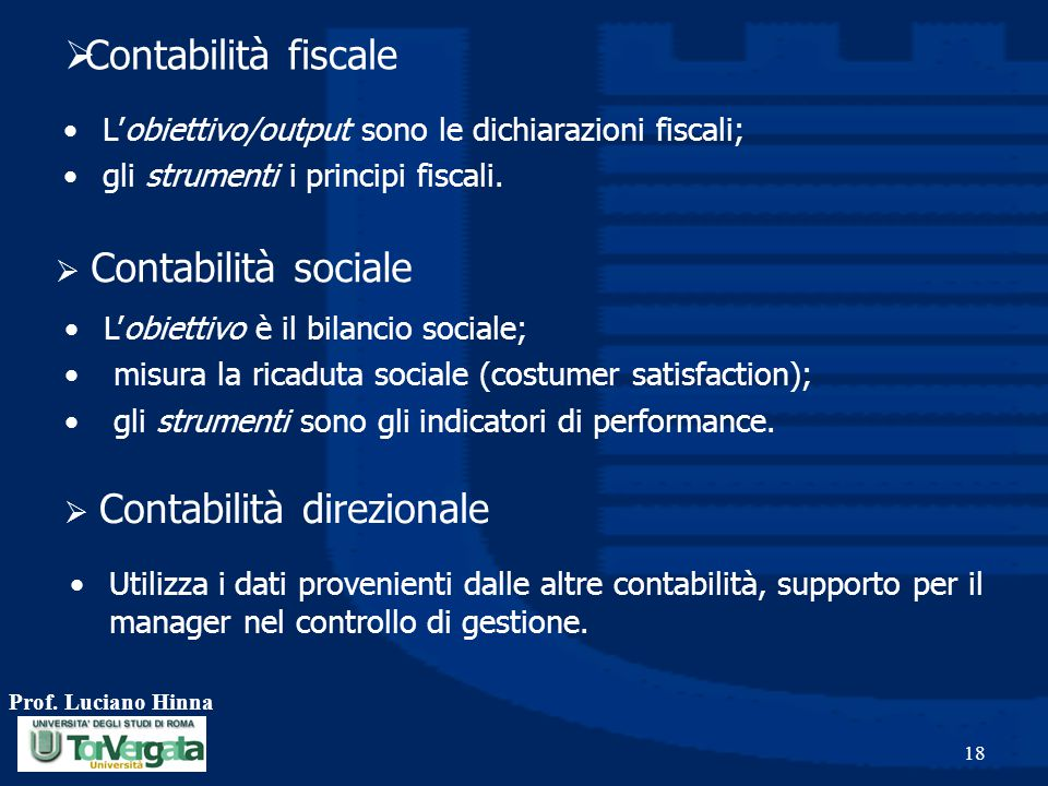 Contabilità fiscale L'obiettivo/output sono le dichiarazioni fiscali;