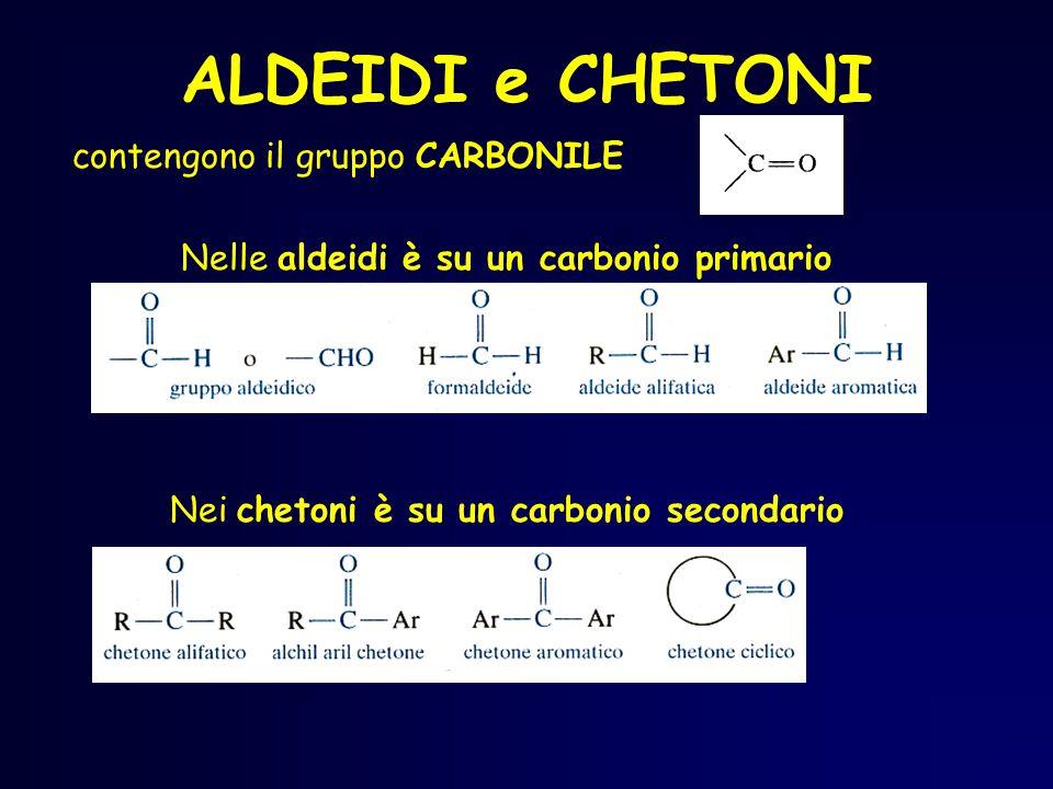 ALDEIDI e CHETONI contengono il gruppo CARBONILE