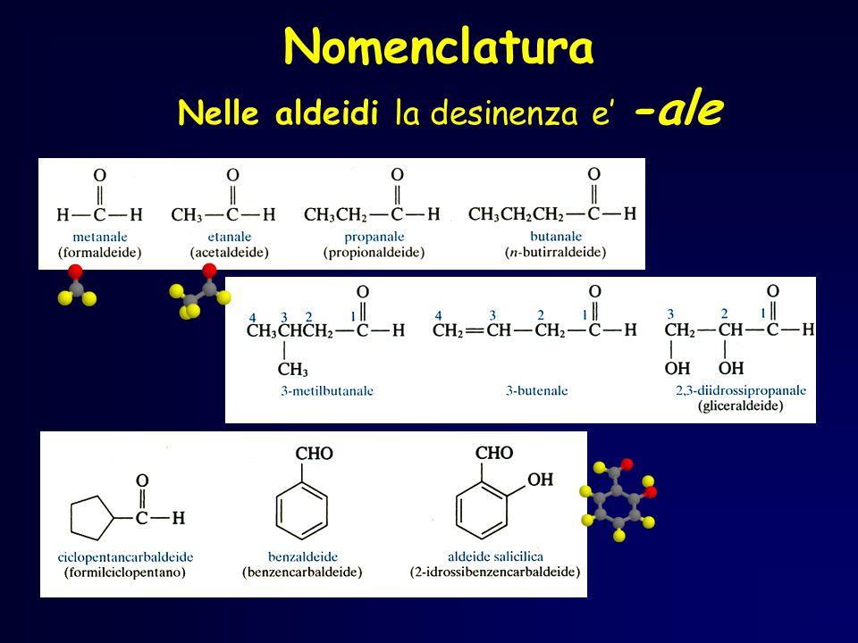 Nomenclatura Nelle aldeidi la desinenza e' -ale