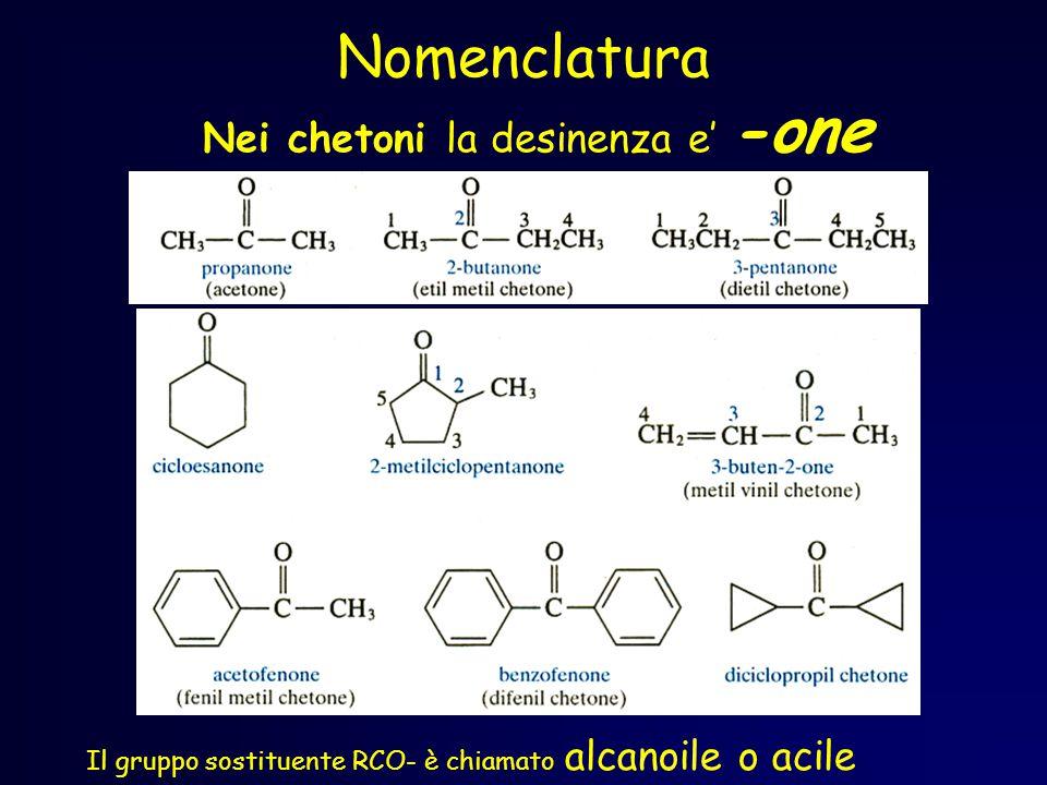 Nomenclatura Nei chetoni la desinenza e' -one