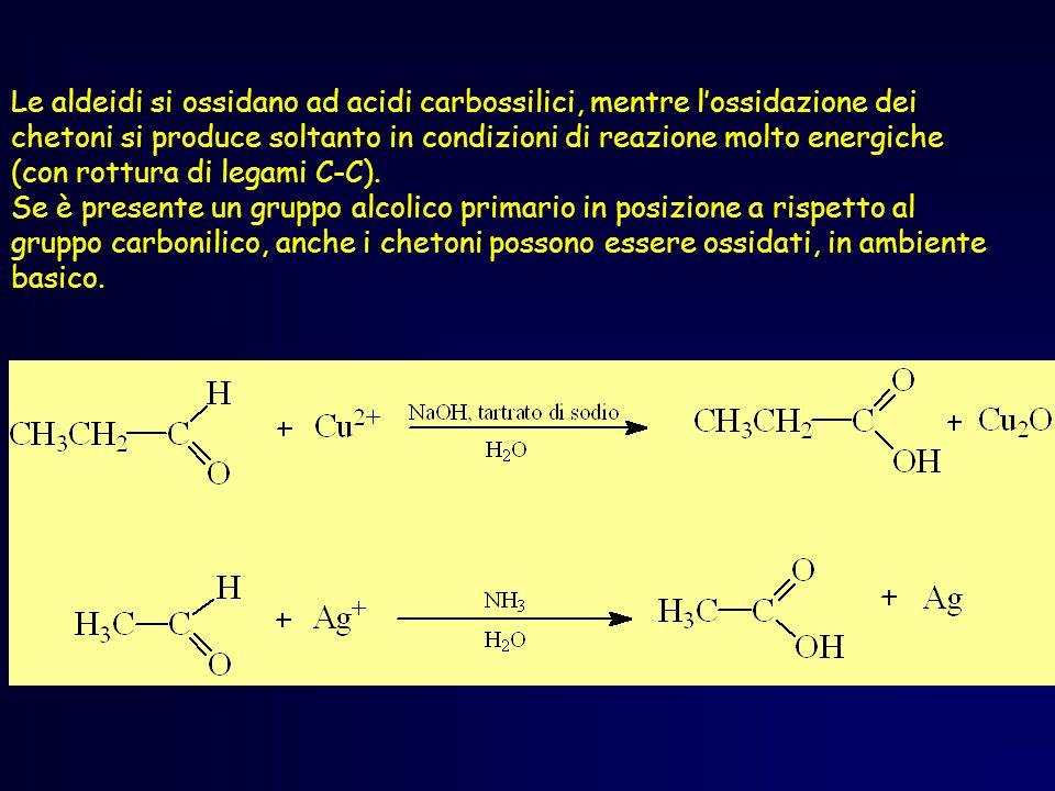 Le aldeidi si ossidano ad acidi carbossilici, mentre l'ossidazione dei