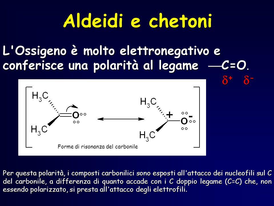 Aldeidi e chetoni L Ossigeno è molto elettronegativo e conferisce una polarità al legame C=O. + -