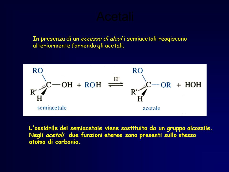 Acetali In presenza di un eccesso di alcol i semiacetali reagiscono ulteriormente fornendo gli acetali.