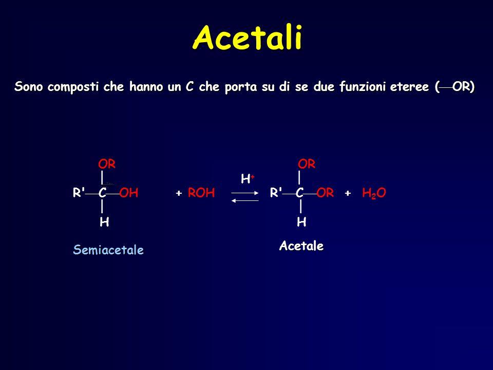 Acetali Sono composti che hanno un C che porta su di se due funzioni eteree (OR) OR OR.