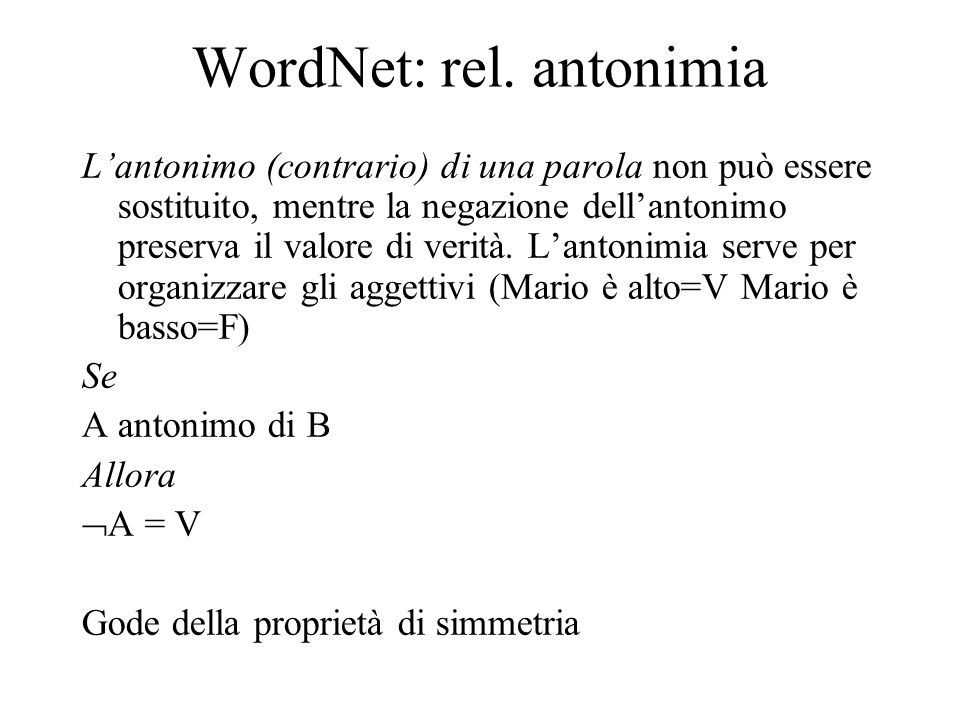 WordNet: rel. antonimia