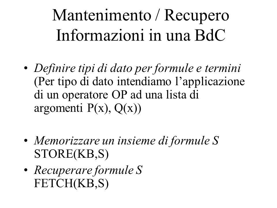 Mantenimento / Recupero Informazioni in una BdC