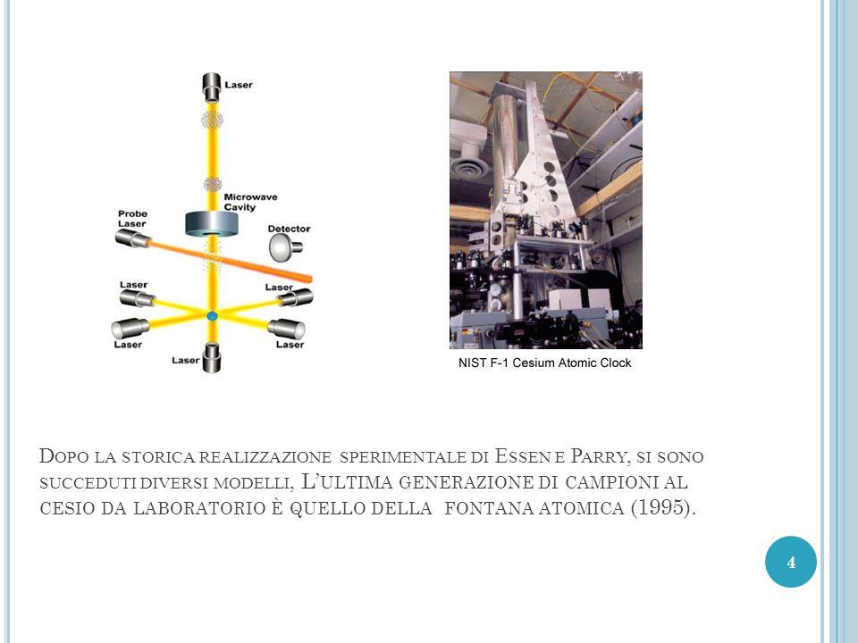 Dopo la storica realizzazione sperimentale di Essen e Parry, si sono succeduti diversi modelli, L'ultima generazione di campioni al cesio da laboratorio è quello della fontana atomica (1995).