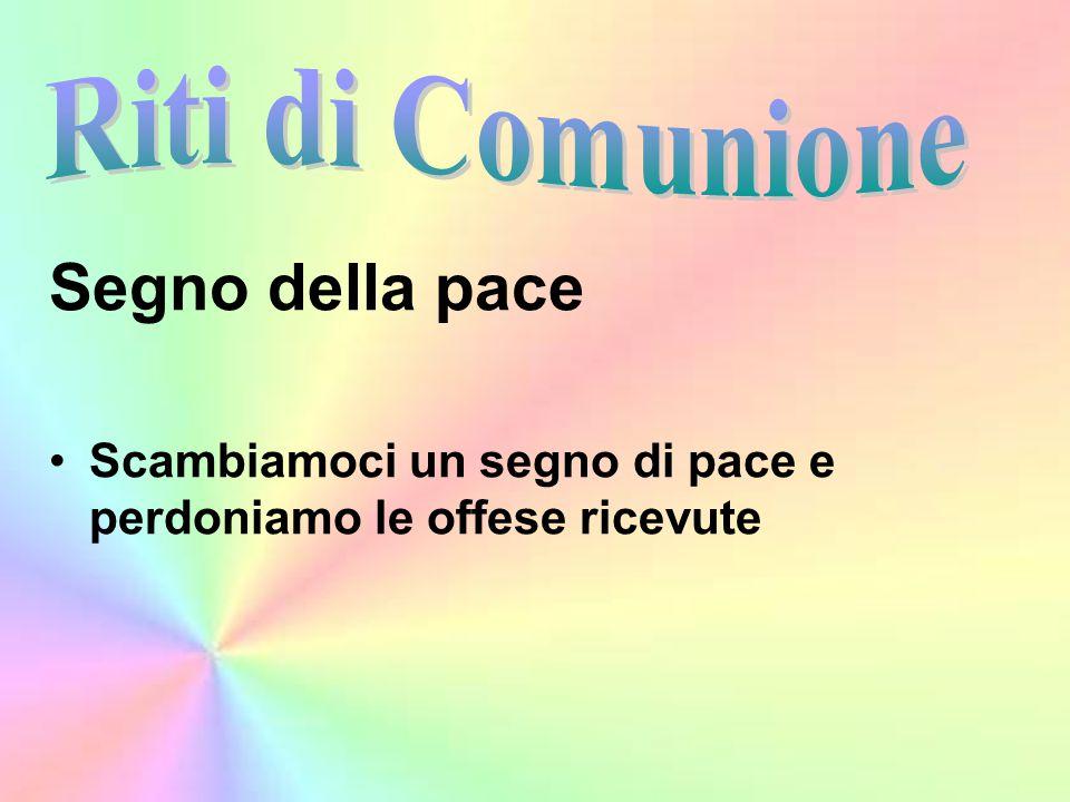 Segno della pace Riti di Comunione