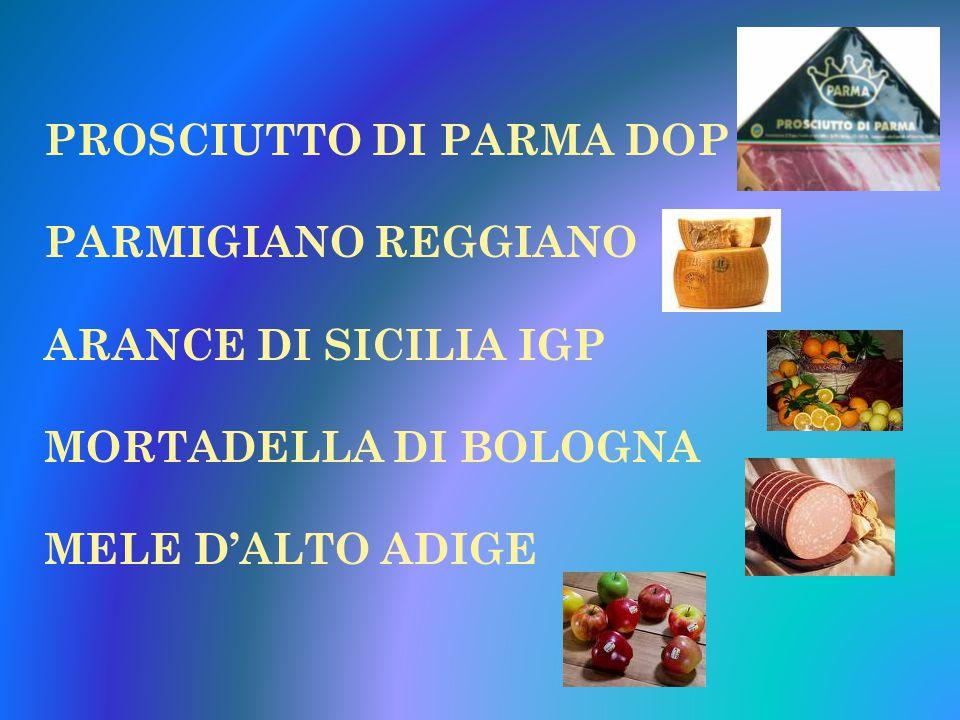 PROSCIUTTO DI PARMA DOP PARMIGIANO REGGIANO ARANCE DI SICILIA IGP MORTADELLA DI BOLOGNA MELE D'ALTO ADIGE