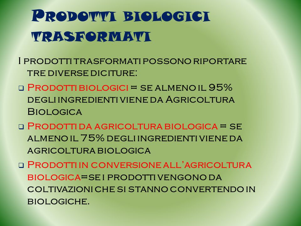Prodotti biologici trasformati