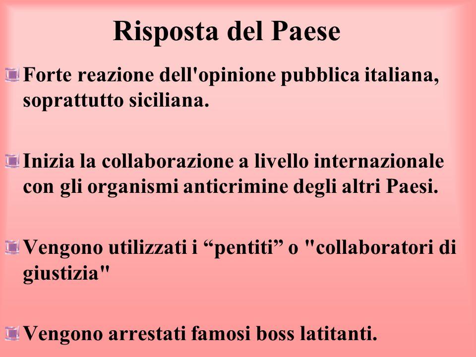 Risposta del Paese Forte reazione dell opinione pubblica italiana, soprattutto siciliana.