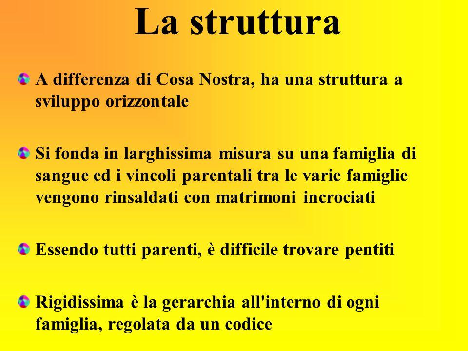 La struttura A differenza di Cosa Nostra, ha una struttura a sviluppo orizzontale.