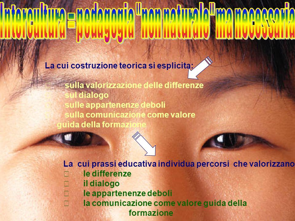 Intercultura = pedagogia non naturale ma necessaria
