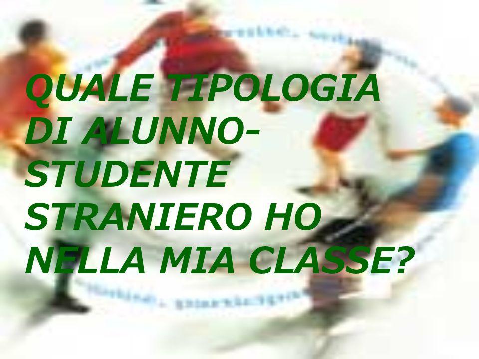 QUALE TIPOLOGIA DI ALUNNO-STUDENTE STRANIERO HO NELLA MIA CLASSE