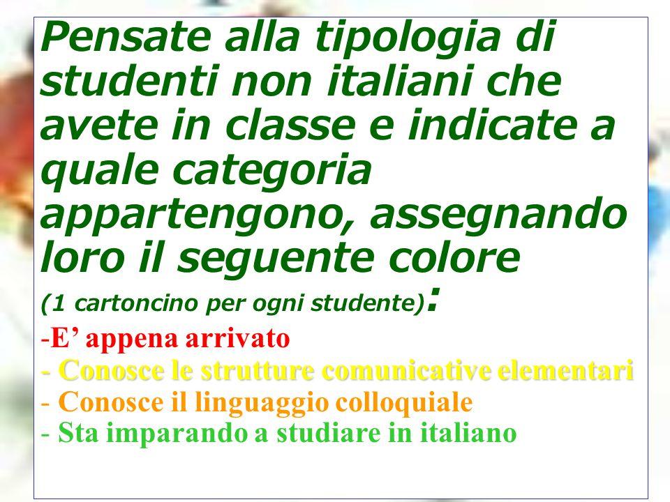 Pensate alla tipologia di studenti non italiani che avete in classe e indicate a quale categoria appartengono, assegnando loro il seguente colore