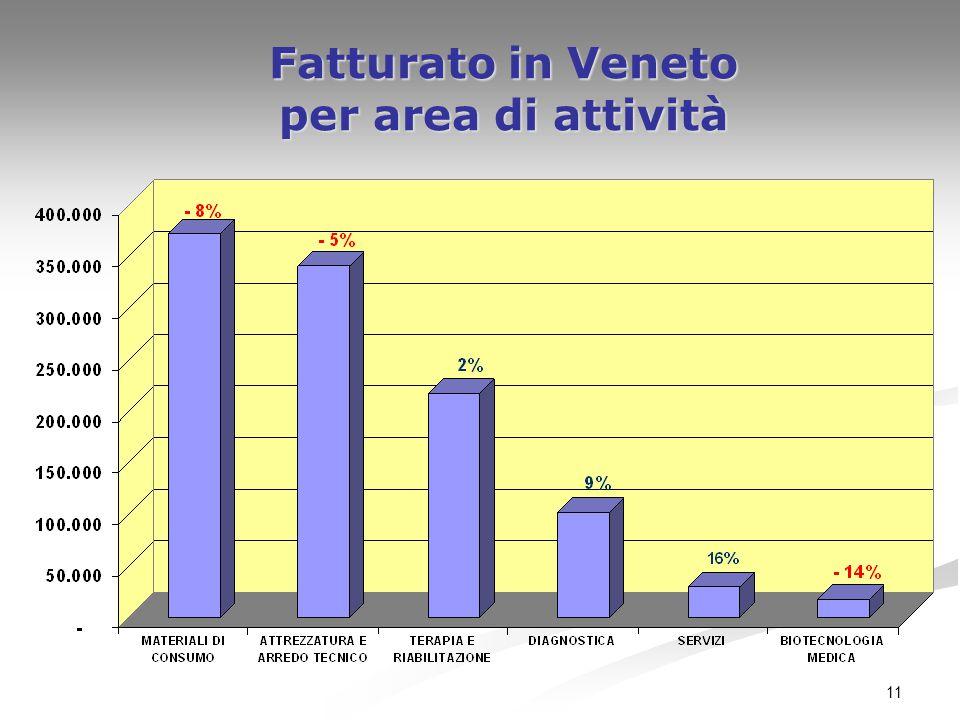 Fatturato in Veneto per area di attività