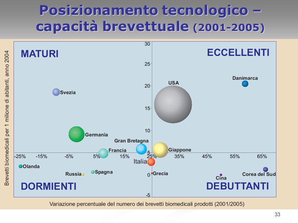Posizionamento tecnologico –capacità brevettuale (2001-2005)