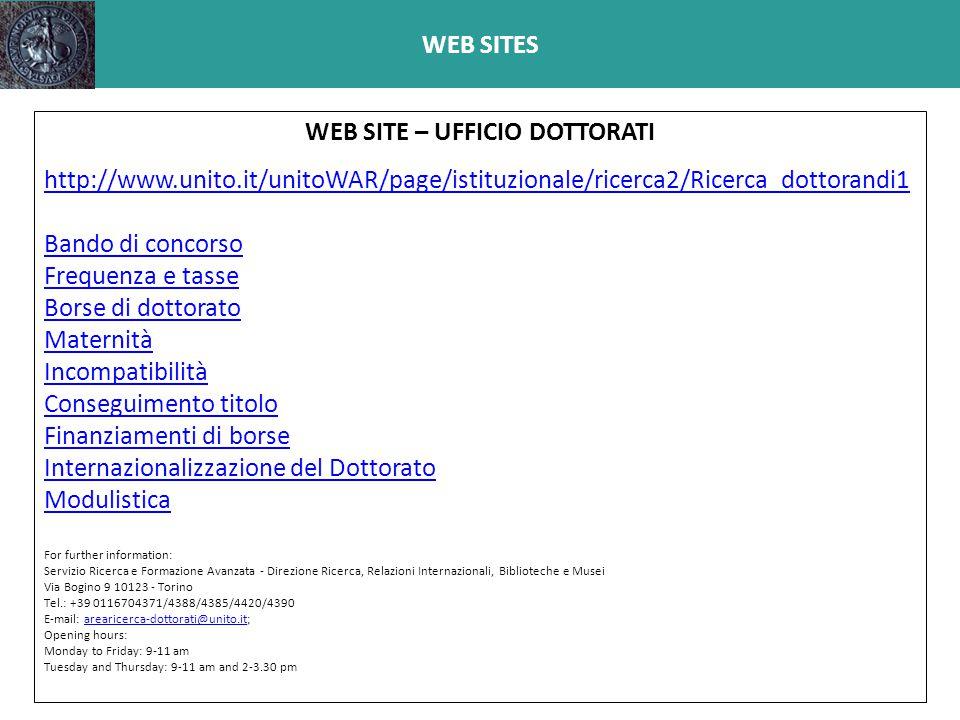 WEB SITE – UFFICIO DOTTORATI
