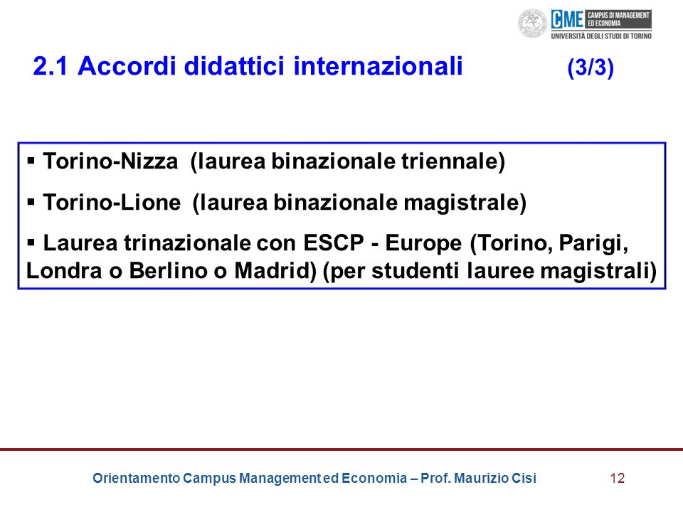 2.1 Accordi didattici internazionali (3/3)
