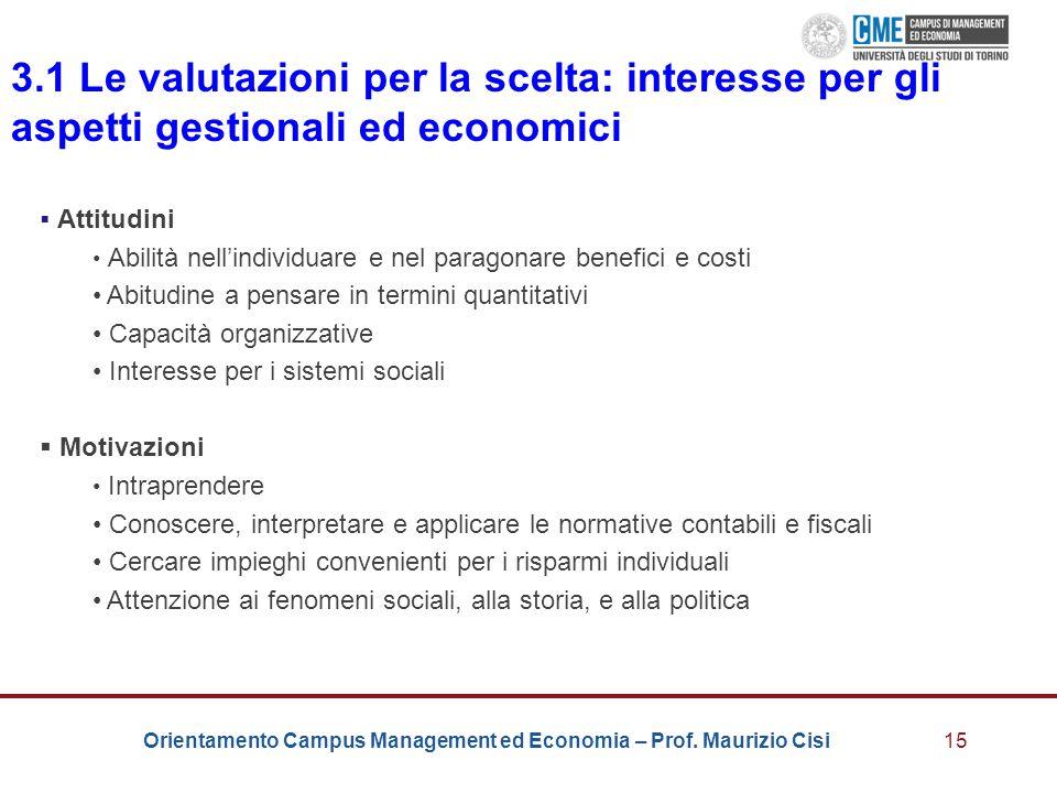 3.1 Le valutazioni per la scelta: interesse per gli aspetti gestionali ed economici