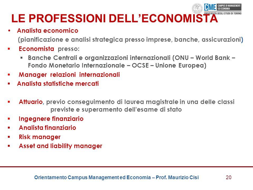LE PROFESSIONI DELL'ECONOMISTA