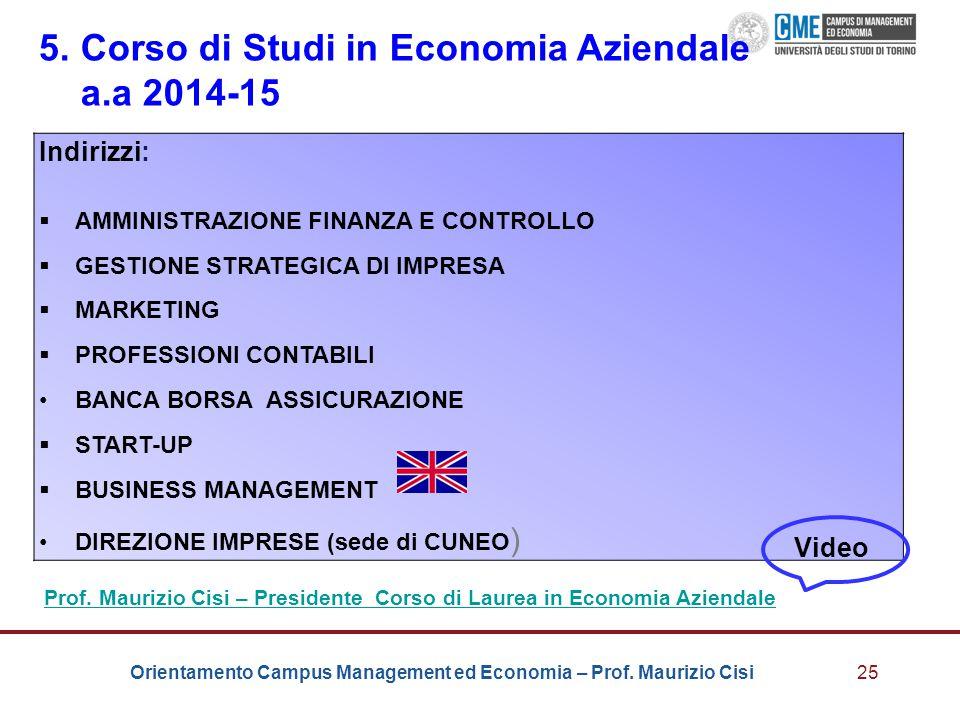 5. Corso di Studi in Economia Aziendale a.a 2014-15