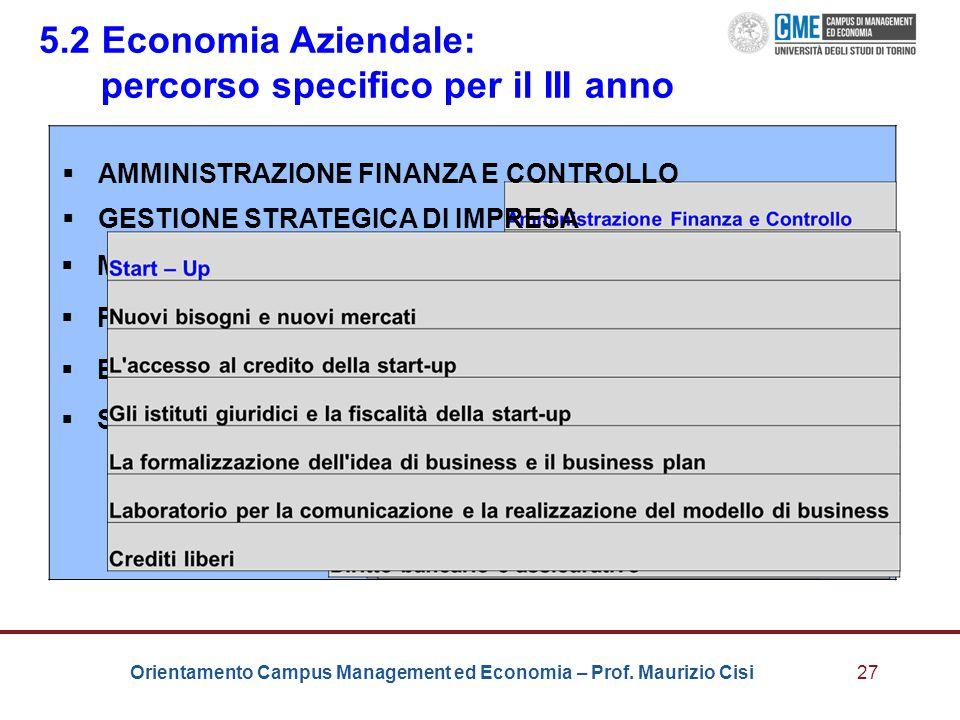 5.2 Economia Aziendale: percorso specifico per il III anno