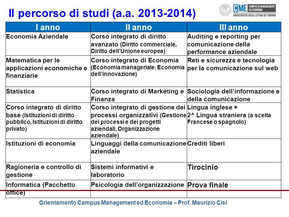 Il percorso di studi (a.a. 2013-2014)