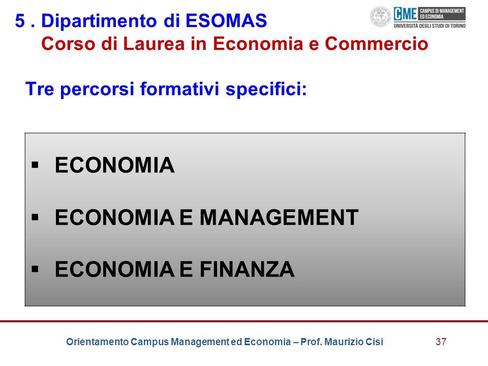 ECONOMIA ECONOMIA E MANAGEMENT ECONOMIA E FINANZA