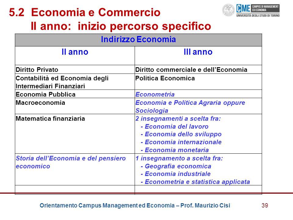 5.2 Economia e Commercio II anno: inizio percorso specifico