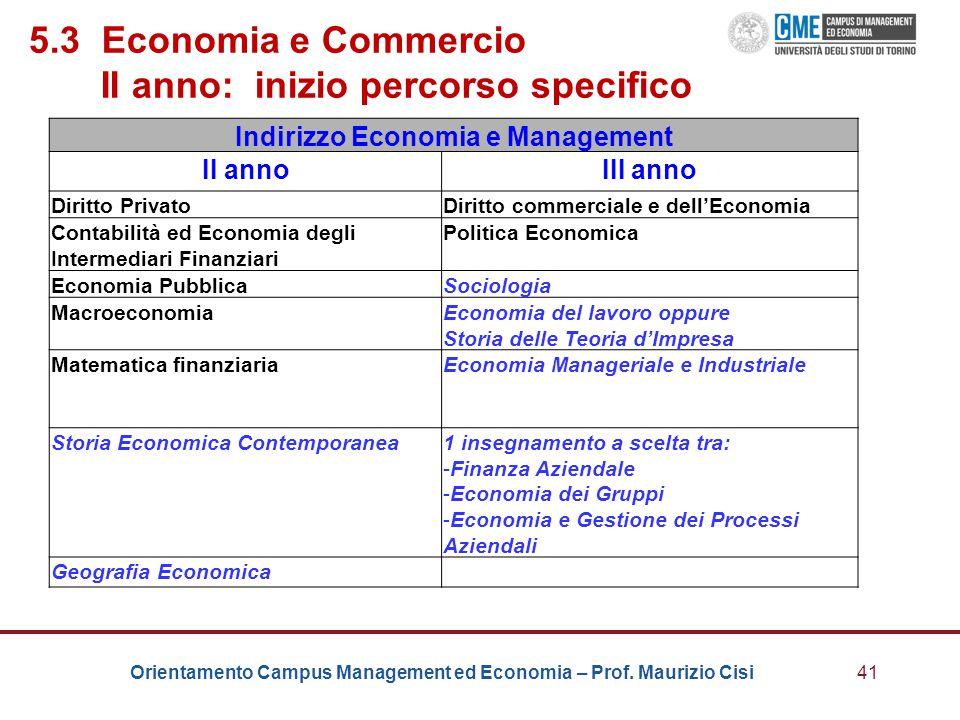 5.3 Economia e Commercio II anno: inizio percorso specifico