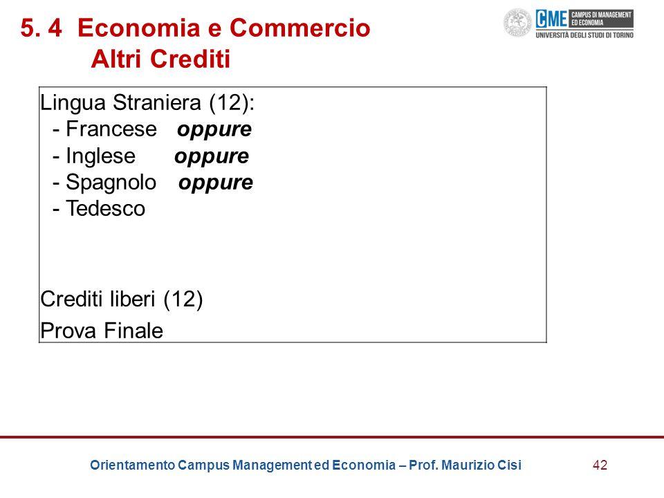 5. 4 Economia e Commercio Altri Crediti