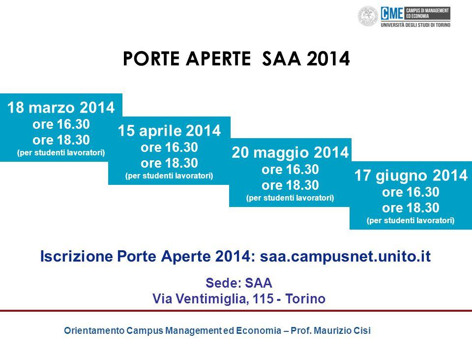 PORTE APERTE SAA 2014 18 marzo 2014 15 aprile 2014 20 maggio 2014