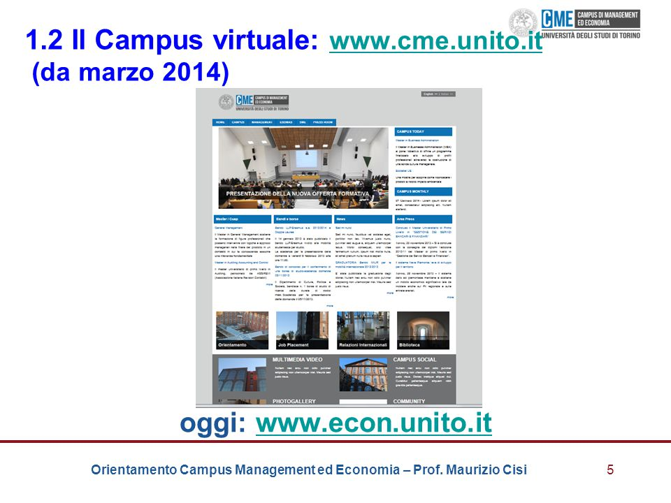 1.2 Il Campus virtuale: www.cme.unito.it (da marzo 2014)